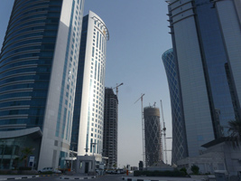 Buildings constructed in Al Dafna, West Bay. Doha's business area during the recent property boom.